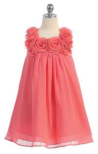 Flower Girl Dresses -Girls Dress Style C611- CORAL- Sleeveless Chiffon Floral Babydoll Dress