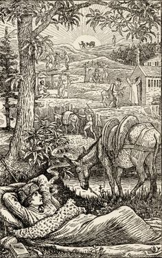 Frontspiece By Walter Crane ( 1845-1915) To The Book Travels With A Donkey In The Cevennes By Robert Louis Stevenson, Published London 1916. Poster Print (12 x 19)