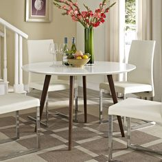 Canvas White Wood Dining Table - Overstock Shopping - Great Deals on Modway Dining Tables
