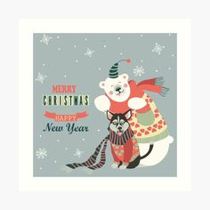 Cute Bears, Merry Christmas And Happy New Year, Wolf, My Arts, Art Prints, Wall Art, Space, Printed, Awesome