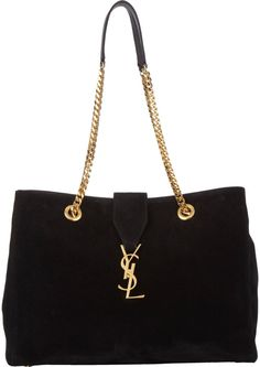 $2,490, Black Suede Tote Bag: Saint Laurent Monogramme Tote Black. Sold by Barneys New York. Click for more info: https://lookastic.com/women/shop_items/56195/redirect