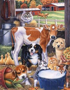Briarwood Lane Animals in The Barn Spring Garden Flag Country Dogs Cats Cow x Farm Animals, Animals And Pets, Cute Animals, Happy Animals, Farm Art, Cute Animal Drawings, Animal Paintings, Dog Art, Cute Art