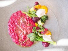 Beetroot risotto with burrata, one of the 12 dishes on the vegetarian tasting menu at La Colombe in Cape Town Stuff To Do, Things To Do, Good Things, Tasting Menu, Beetroot, Africa Travel, Cape Town, Risotto, South Africa
