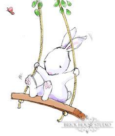 Nursery Art Bunny on a Swing 8x10 by BrickHouseStudio on Etsy