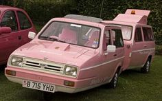 Reliant Rialto combo, with its Reliant-based caravan Pink Trailer, Canned Ham Camper, Pink Truck, Car Images, Bing Images, Teardrop Trailer, Rv For Sale, Rv Parks, Rally Car