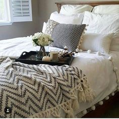 Working on updating my master bedroom.thats the next project on my list Gathering inspiration and this gorgeous setup from is Those tassels and pom poms! Jodies feed is filled with so much home inspo you guys need to take a look! Bedroom Inspo, Bedroom Decor, Bedroom Ideas, Cozy Bedroom, Dream Bedroom, Master Bedroom, Master Suite, Master Bath, King Bedding Sets