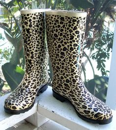 DIRTY LAUNDRY Sz 9 Rare LEOPARD Wellies Rain Boots Great Cond Awesome Print! | eBay