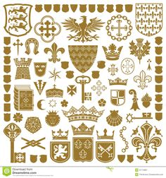 Raster version of vector set of gold heraldic symbols (contain the Clipping Path) There is in addition a vector format (EPS 8). Description from dreamstime.com. I searched for this on bing.com/images
