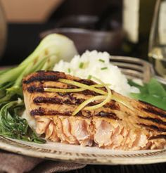 GINGER SALMON WITH BABY BOK CHOY  Cooks in 7 Mins