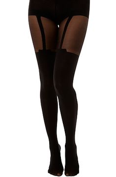 Foot Traffic The Faux Garter Tights in Black