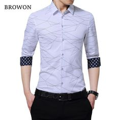 BROWON Luxury Brand Mens Dress Shirts Men Shirt Long Sleeve Geometric Print Party Shirt Handsome