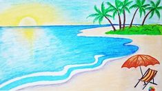 How to draw a scenery of sea beach Step by step (easy draw) Landscape Drawing Easy, Landscape Sketch, Beach Landscape, Crayon Drawings, Oil Pastel Drawings, Beautiful Drawings, Cool Drawings, Easy Nature Drawings, Nature Paintings