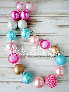 Hot Pink Light Pink Aqua Gold and Silver Chunky Necklace by babyzdesigns Great for Candy themed birthdays!