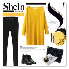 Split Yellow Sweater by SheIn by cruzeirodotejo on Polyvore featuring Lancôme, Urban Decay, Sheinside and contestentry