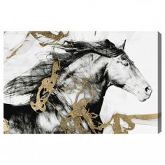 Gold and Black Equestrian Canvas Art