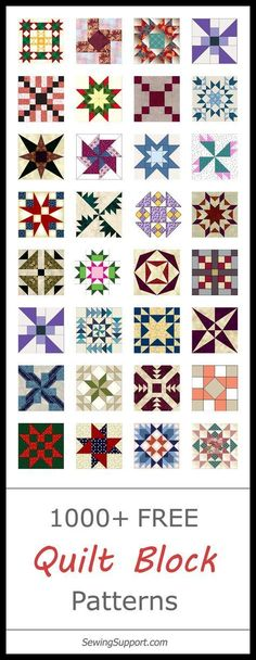 Lots of free quilt block patterns and templates. Classic, traditional, and modern designs. Simple and easy blocks for beginners. 12 inch, 10 inch and other sizes.