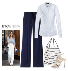 """""""Etcetera: LUNA white double-peplum blouse with FATHOM navy wide-legged pants."""" by etcetera-nyc ❤ liked on Polyvore featuring Etcetera, Proenza Schouler, Chelsea Paris, WorkWear, etceteracollection, etceteranyc and summer2016"""