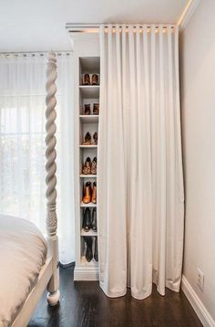 Create a clean look with curtains over shelving units