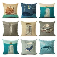 Fashion Nordic Style Marine Biology Cushion Cover Sea Whale Home Pillow Case Linen Cotton Pillows Covers #Affiliate