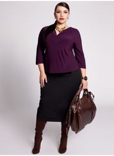 Get to work, girl! Purple power top, brown boots of fury! plus