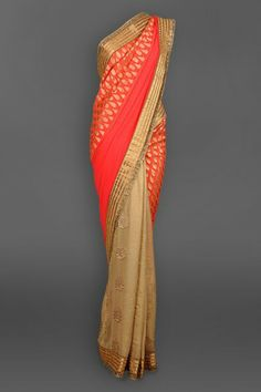 Peach & Antique Gold Georgette Sari