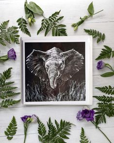 Cute Baby Elephant, White Pencil, Black Card, White Envelopes, Monochrome, How To Draw Hands, Art Pieces, Gallery Wall, Greeting Cards