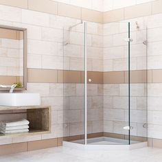 """Vigo VG606142WS 42-1/8"""" x 42-1/8"""" Frameless Neo-Angle Shower Enclosure with Low- Brushed Nickel Showers Shower Enclosures Hinged"""