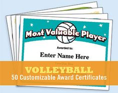 Volleyball certificates for players, coaches and team parents. Create your own custom award from these template printables. Volleyball Team Names, Coaching Volleyball, Volleyball Gifts, Softball Mom, Volleyball Drills, Volleyball Decorations, Volleyball Ideas, Softball Coach, Locker Decorations