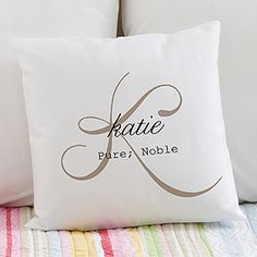 """I love these throw pillows! They come in beautiful colors and you can personalize it with any name, initial and """"name meaning"""" or any message in the middle... this font is so pretty!!!"""