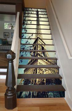 3D Eiffel Tower 1503 Stair Risers | AJ Wallpaper Stair Art, Stair Decor, Entryway Decor, Marble Stairs, Tile Stairs, Finishing Stairs, Wallpaper Stairs, Stair Stickers, Photo Mural
