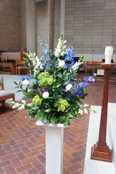 Blue altar arrangement