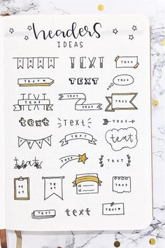 Check out these super cute bullet journal bbanner doodle ideas for inspiration! Bullet Journal Paper, Bullet Journal Headers, Journal Fonts, Bullet Journal Lettering Ideas, Bullet Journal Notebook, Bullet Journal School, Bullet Journal Ideas Pages, Bullet Journal Inspiration, Bullet Journal Grocery List