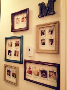 Created this wall to display all of our polaroids! We bought some old wooden frames from Goodwill, and sanded them down to make them look even more weathered. We then painted them three different c… Photo Polaroid, Polaroid Wall, Polaroids, Polaroid Camera, Polaroid Pictures Display, Polaroid Display, My New Room, My Room, Le Logis