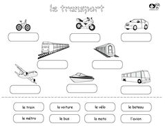 Lots of great worksheets in Spanish that include cut and paste like this or matching pictures with words or tracing and writing the words on lined paper. (Transportacion, Casa, Cuerpo, Escuela, etc. Spanish Words, Spanish Lessons, Learning Spanish, Speak Spanish, Spanish Class, Transportation Worksheet, Transportation Theme, French Worksheets, Worksheets For Kids