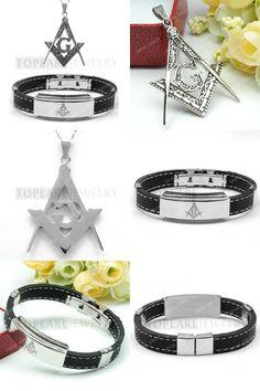 [Visit to Buy] Topearl Jewelry Masonic G Square and Compass Amulet Pendant and Freemasonry Bracelet Set #Advertisement