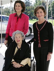 Lynda Bird Johnson born in 1944.  Daughter of Lyndon B. and Lady Bird Johnson.  Shown her with her mother Lady Bird Johnson and Laura Bush