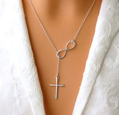 STERLING SILVER Cross and Infinity Necklace - Sterling Silver Infinity Cross Lariat - Faith Forever via Etsy