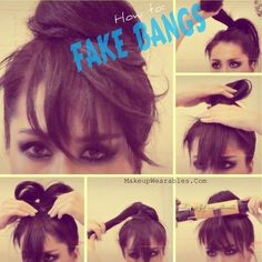 how to make fake bangs hair life hacks