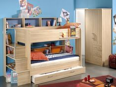 Kids Beds with Storage for a Boy and a Girl : Kids Beds With Storage Wooden Bunk Bed Wooden Wardrobe Brown Carpet Blue Wall