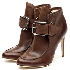 Rupert Sanderson Brown Leather High Heel Ankle Boots (€875) ❤ liked on Polyvore featuring shoes, boots, ankle booties, обувь, heels, ankle boots, women, leather boots, high heel boots and leather ankle boots