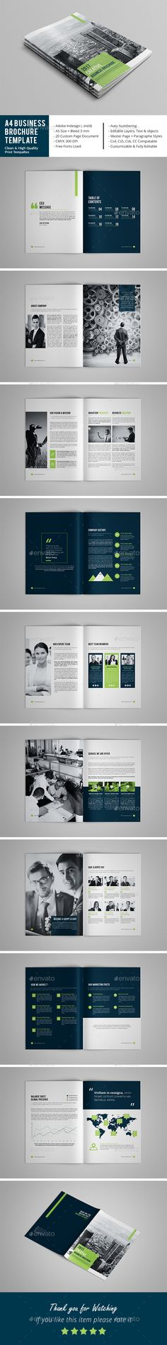 Business Brochure Template by adobemouad Business Brochure Template This InDesign Brochure is Clean & Porfessional. Create your company鈥檚 documentation quick and easy. Design Brochure, Booklet Design, Brochure Layout, Corporate Brochure, Business Brochure, Corporate Design, Brochure Template, Business Folder, Company Brochure