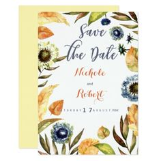 Country gold brown blue floral Save The Date Card - rustic country gifts style ideas diy