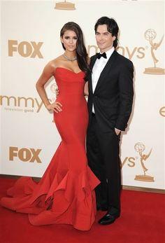 Nina Dobrev + Ian Somerhalder 2011 Emmys #celebrities #celebrityfashion #redcarpet