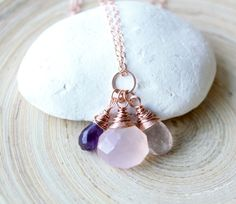 Rose gold necklace. Trio briolettes wire wrapped by EverywhereUR