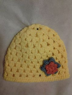Crocheted Infant Hat with flower by StitchesforSMA on Etsy, $6.00