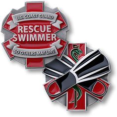 This is one of the challenge coins my husband has. Yes he is a rescue swimmer (CSS). No, he doesn't jump out of helicopters. :)