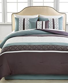 CLOSEOUT! Mercer 5 Piece Embroidered Comforter Sets