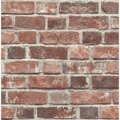 Brick House Exterior Discover Millwood Pines Bryanna Distressed 18 L x W Peel and Stick Wallpaper Roll Brick Wallpaper Peel And Stick, Wallpaper Roll, Brick Wallpaper Bathroom, Wallpaper Wallpapers, Wallpaper Ideas, Faux Brick Walls, Fake Brick, Brick Paneling, Thin Brick