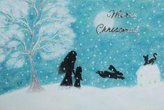 #Christmas Card: #Mother #Daughter Christmas Card, Children Christmas Card Snow Art £2.50