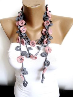 Necklace/Dirty Pink Necklace/Crochet Jewelry/ Beaded